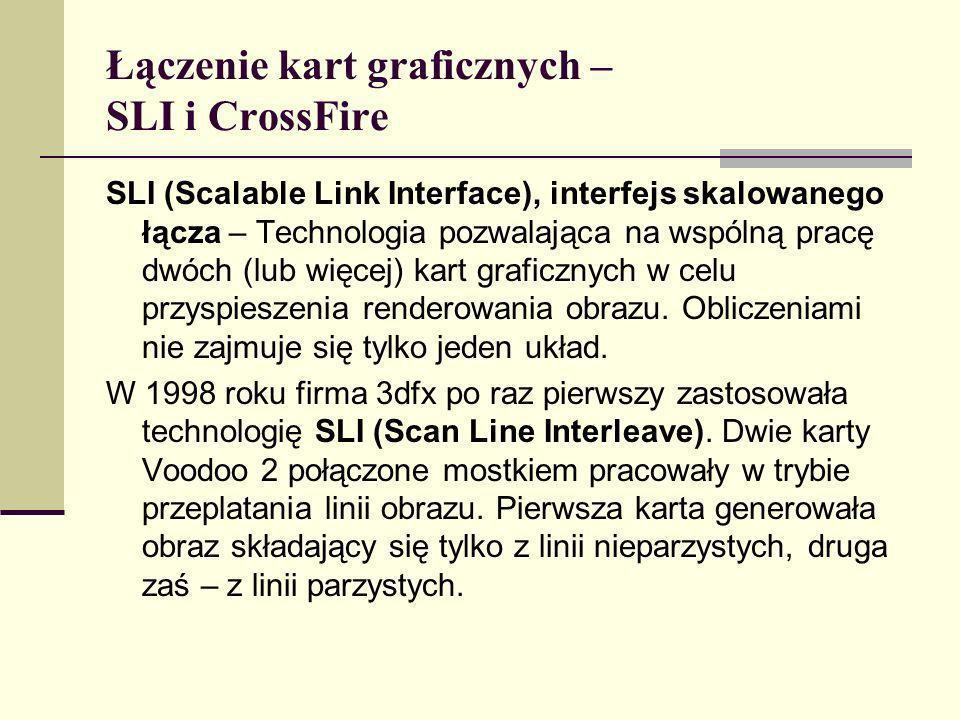 Łączenie kart graficznych – SLI i CrossFire SLI (Scalable Link Interface), interfejs skalowanego łącza – Technologia pozwalająca na wspólną pracę dwóc