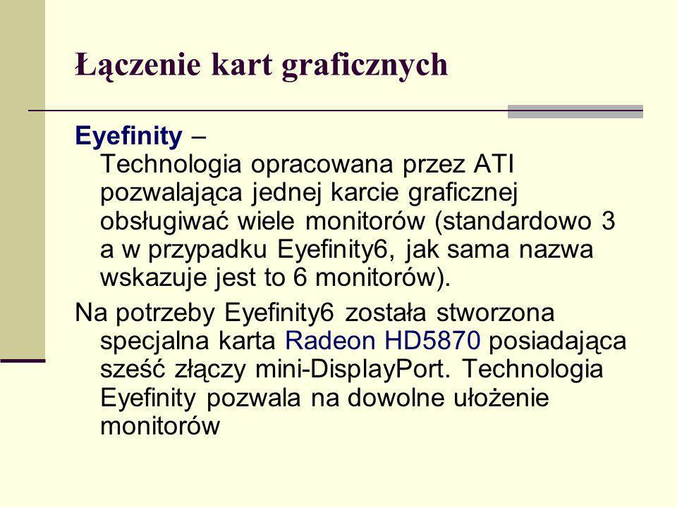 Łączenie kart graficznych Eyefinity – Technologia opracowana przez ATI pozwalająca jednej karcie graficznej obsługiwać wiele monitorów (standardowo 3