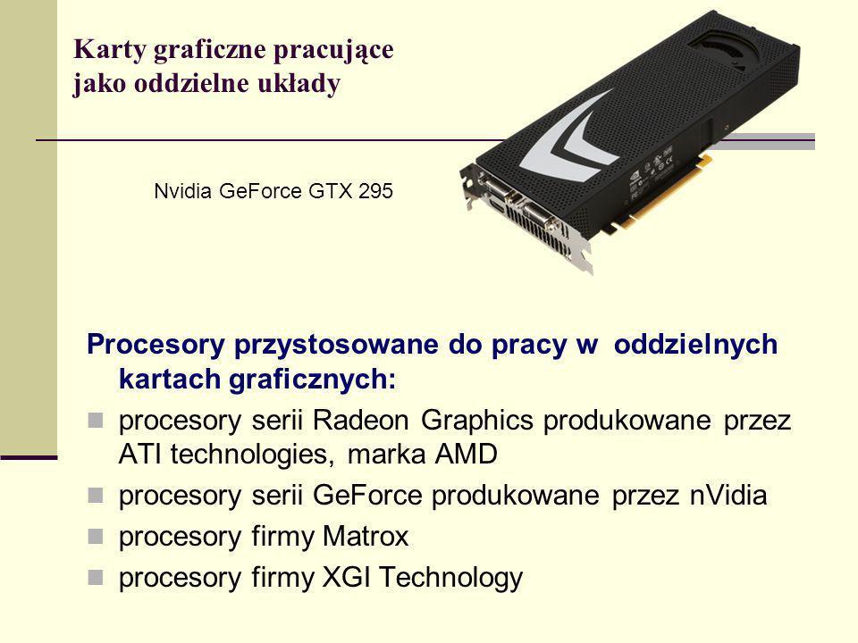 Karty graficzne pracujące jako oddzielne układy Procesory przystosowane do pracy w oddzielnych kartach graficznych: procesory serii Radeon Graphics pr