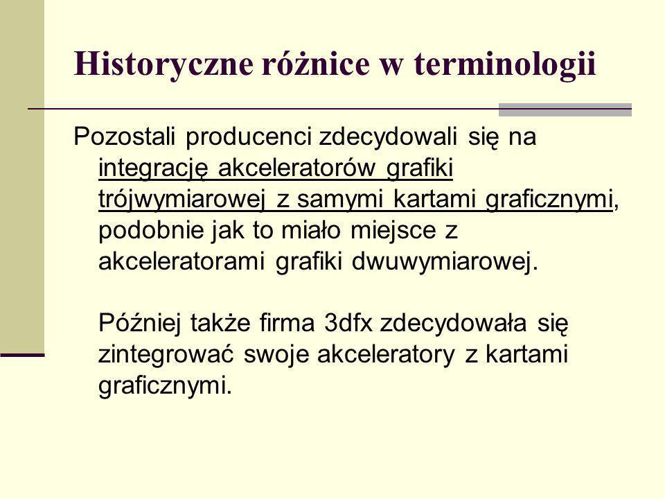 Historyczne różnice w terminologii Pozostali producenci zdecydowali się na integrację akceleratorów grafiki trójwymiarowej z samymi kartami graficznym