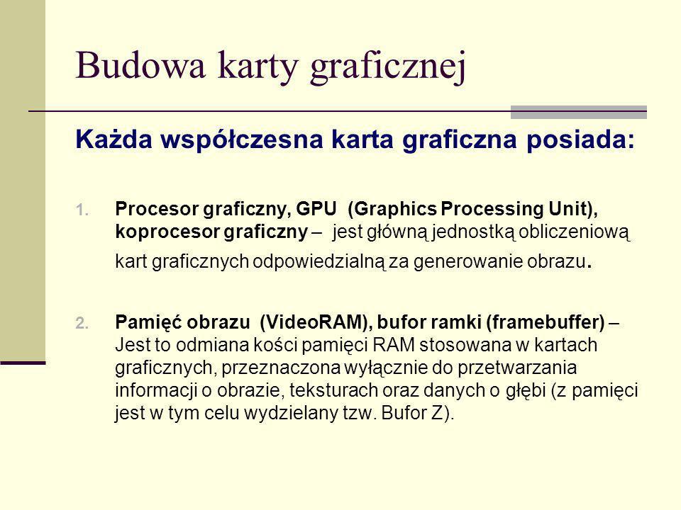 Budowa karty graficznej Każda współczesna karta graficzna posiada: 1. Procesor graficzny, GPU (Graphics Processing Unit), koprocesor graficzny – jest