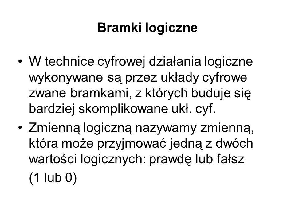 Bramki logiczne W technice cyfrowej działania logiczne wykonywane są przez układy cyfrowe zwane bramkami, z których buduje się bardziej skomplikowane