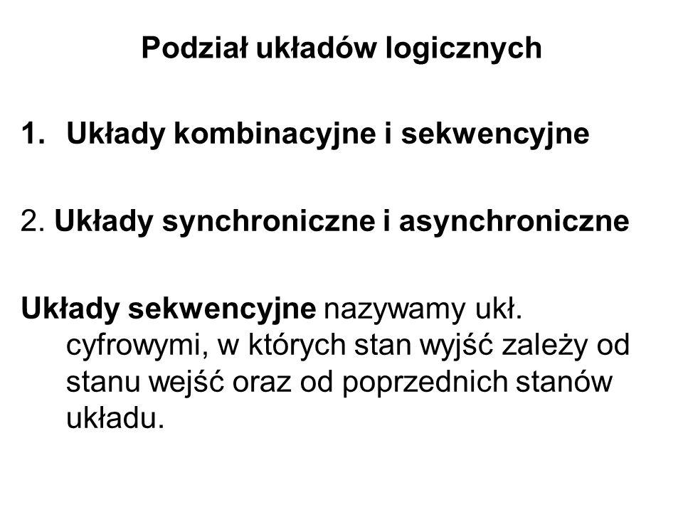 Podział układów logicznych 1.Układy kombinacyjne i sekwencyjne 2. Układy synchroniczne i asynchroniczne Układy sekwencyjne nazywamy ukł. cyfrowymi, w