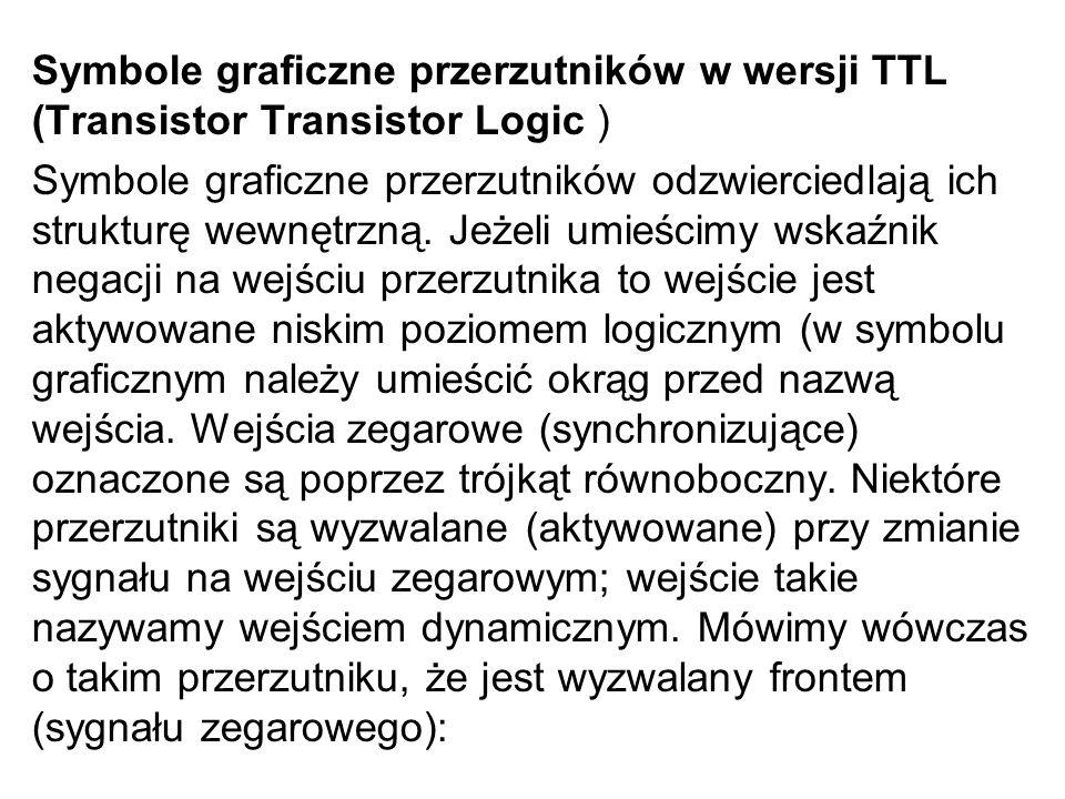 Symbole graficzne przerzutników w wersji TTL (Transistor Transistor Logic ) Symbole graficzne przerzutników odzwierciedlają ich strukturę wewnętrzną.