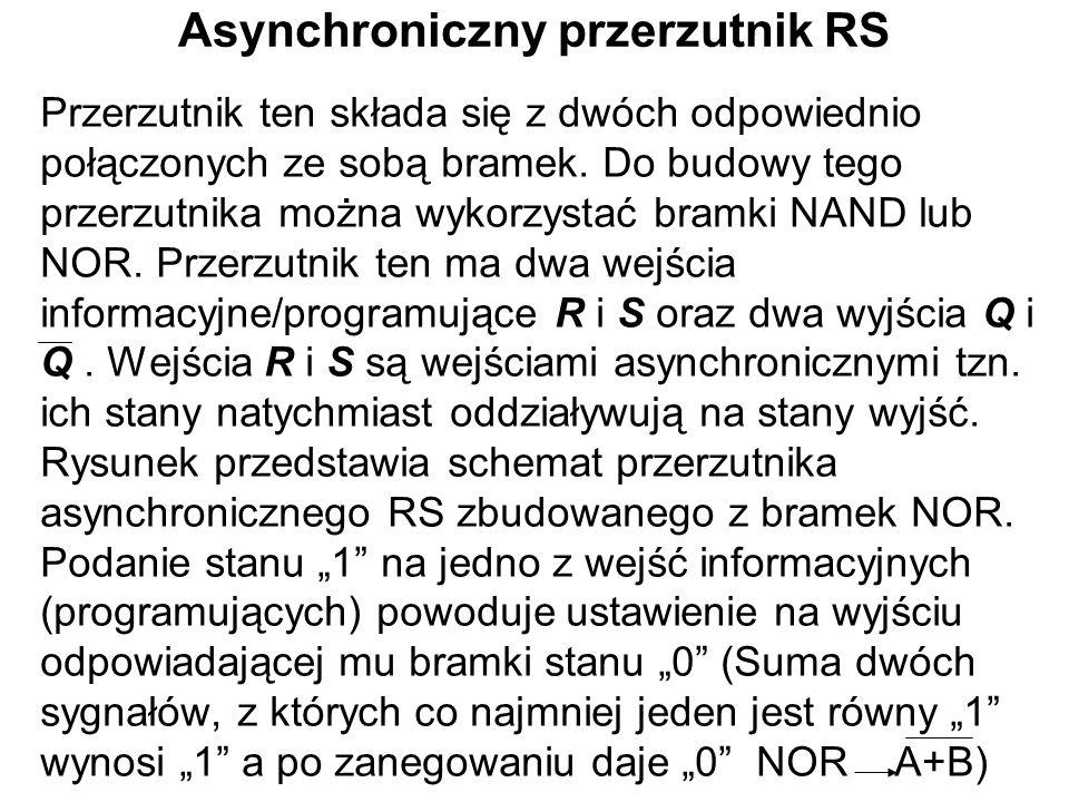 Asynchroniczny przerzutnik RS Przerzutnik ten składa się z dwóch odpowiednio połączonych ze sobą bramek. Do budowy tego przerzutnika można wykorzystać