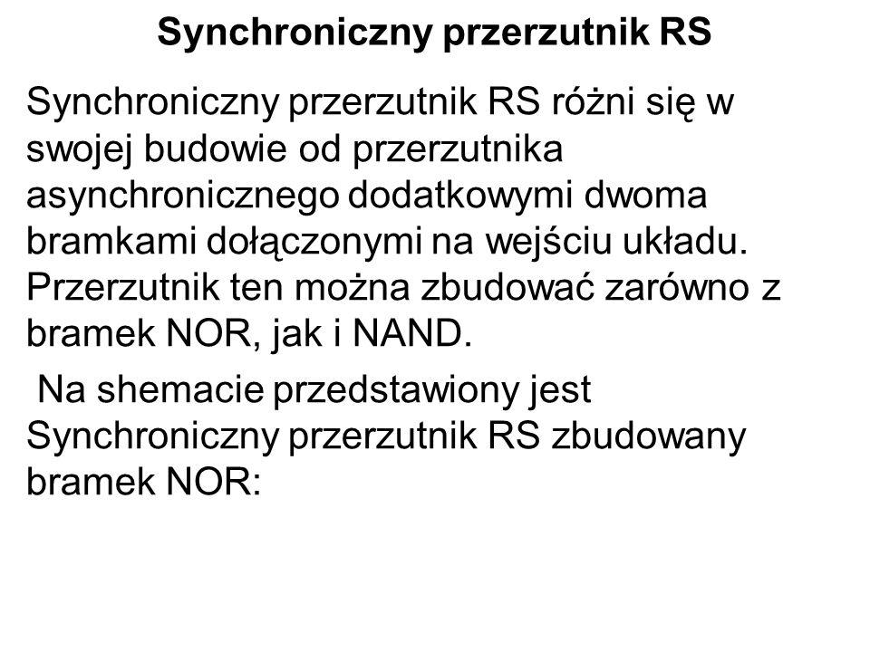 Synchroniczny przerzutnik RS Synchroniczny przerzutnik RS różni się w swojej budowie od przerzutnika asynchronicznego dodatkowymi dwoma bramkami dołąc