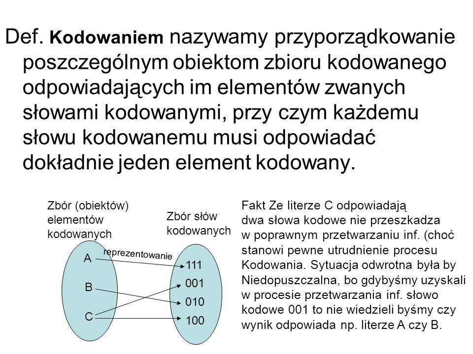 Def. Kodowaniem nazywamy przyporządkowanie poszczególnym obiektom zbioru kodowanego odpowiadających im elementów zwanych słowami kodowanymi, przy czym