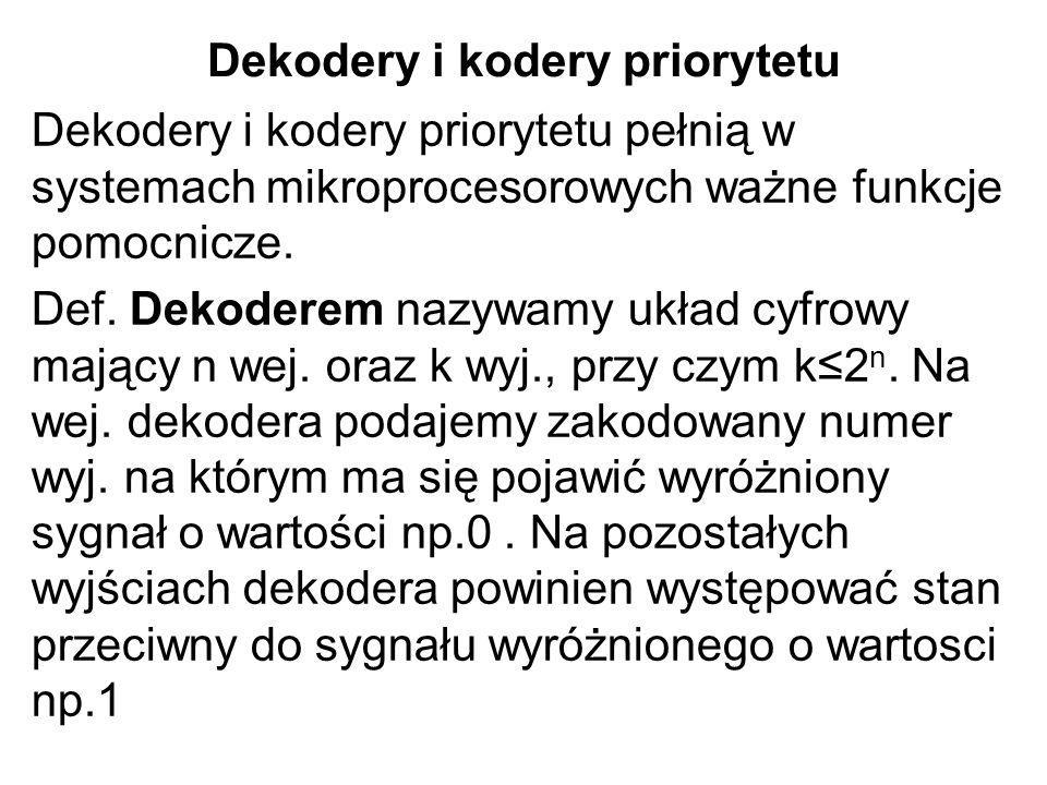 Dekodery i kodery priorytetu Dekodery i kodery priorytetu pełnią w systemach mikroprocesorowych ważne funkcje pomocnicze. Def. Dekoderem nazywamy ukła