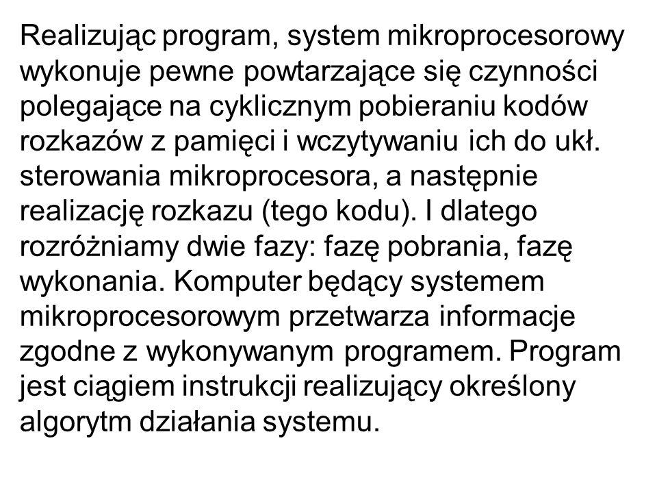 Realizując program, system mikroprocesorowy wykonuje pewne powtarzające się czynności polegające na cyklicznym pobieraniu kodów rozkazów z pamięci i w
