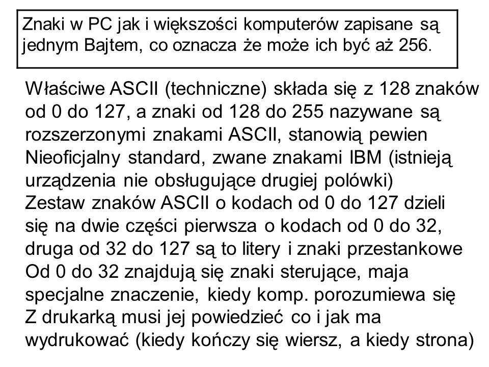 Znaki w PC jak i większości komputerów zapisane są jednym Bajtem, co oznacza że może ich być aż 256. Właściwe ASCII (techniczne) składa się z 128 znak