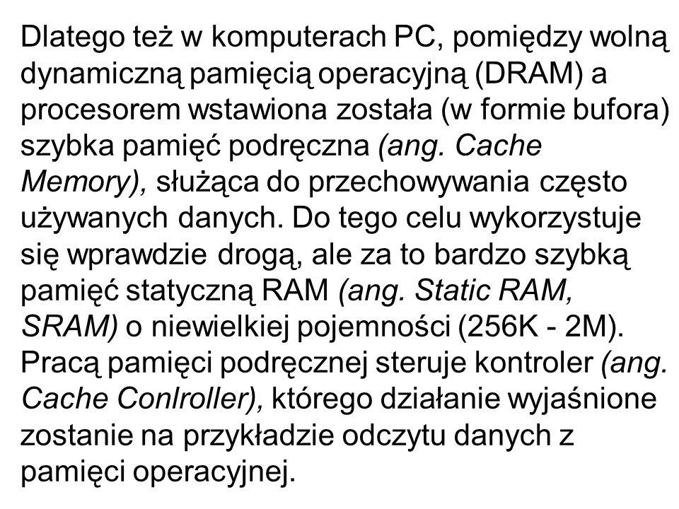 Dlatego też w komputerach PC, pomiędzy wolną dynamiczną pamięcią operacyjną (DRAM) a procesorem wstawiona została (w formie bufora) szybka pamięć podr