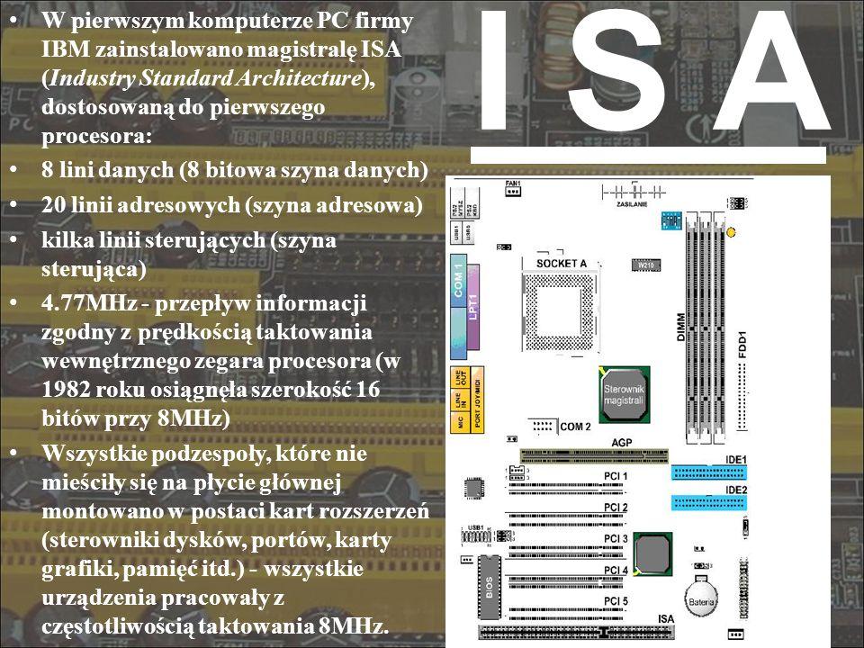 I S A W pierwszym komputerze PC firmy IBM zainstalowano magistralę ISA (Industry Standard Architecture), dostosowaną do pierwszego procesora: 8 lini d