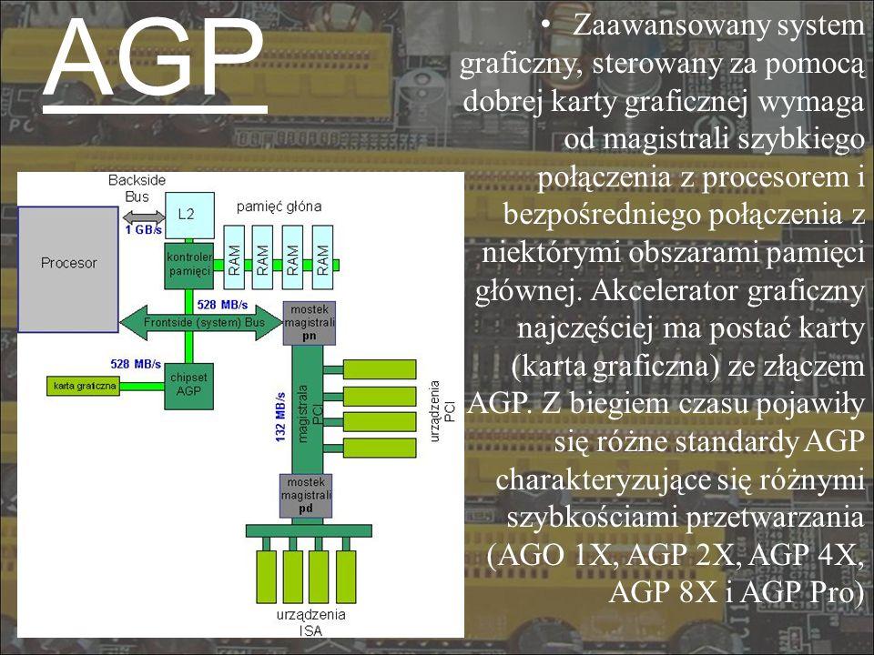 AGP Zaawansowany system graficzny, sterowany za pomocą dobrej karty graficznej wymaga od magistrali szybkiego połączenia z procesorem i bezpośredniego