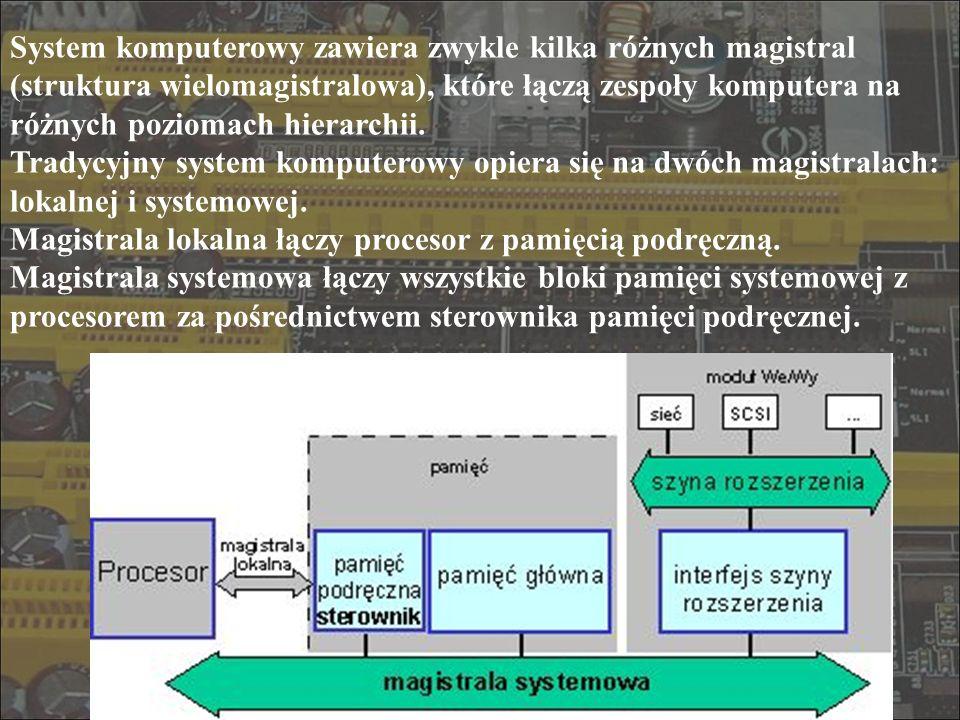 Mostek południowy - układ scalony odpowiedzialny za: połączenie magistrali PCI z wolniejszą magistralą ISA, połączenia ze stacjami dyskietek, 2 kanały EIDE (główny i wtórny), do których można podłączyć po dwa urządzenia EIDE połączenie z magistralami myszy i klawiatury połączenie z magistralami USB i IEEE 1394 połączenie standardowego portu równoległego ECP (lub EEP) oraz szeregowego obsługę złącz kart PC (CardBus) typ magistrali szerokość częstotliw ość MB/s ISA16 bitów8 MHz16 MB/s EISA32 bity8 MHz32 MB/s VL-bus32 bity25 MHz100 MB/s VL-bus32 bity33 MHz132 MB/s PCI32 bity33 MHz132 MB/s PCI64 bity33 MHz264 MB/s PCI64 bity66 MHz512 MB/s PCI64 bity133 MHz1 GB/s