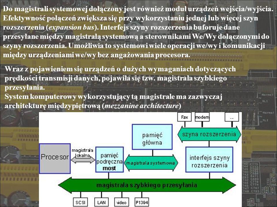 Do magistrali systemowej dołączony jest również moduł urządzeń wejścia/wyjścia. Efektywność połączeń zwiększa się przy wykorzystaniu jednej lub więcej