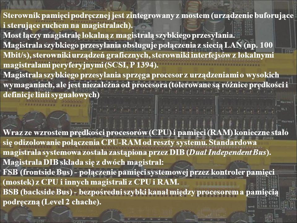 Sterownik pamięci podręcznej jest zintegrowany z mostem (urządzenie buforujące i sterujące ruchem na magistralach). Most łączy magistralę lokalną z ma