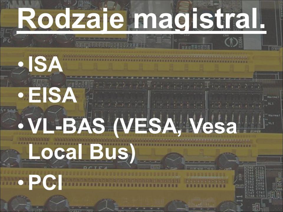 I S A W pierwszym komputerze PC firmy IBM zainstalowano magistralę ISA (Industry Standard Architecture), dostosowaną do pierwszego procesora: 8 lini danych (8 bitowa szyna danych) 20 linii adresowych (szyna adresowa) kilka linii sterujących (szyna sterująca) 4.77MHz - przepływ informacji zgodny z prędkością taktowania wewnętrznego zegara procesora (w 1982 roku osiągnęła szerokość 16 bitów przy 8MHz) Wszystkie podzespoły, które nie mieściły się na płycie głównej montowano w postaci kart rozszerzeń (sterowniki dysków, portów, karty grafiki, pamięć itd.) - wszystkie urządzenia pracowały z częstotliwością taktowania 8MHz.
