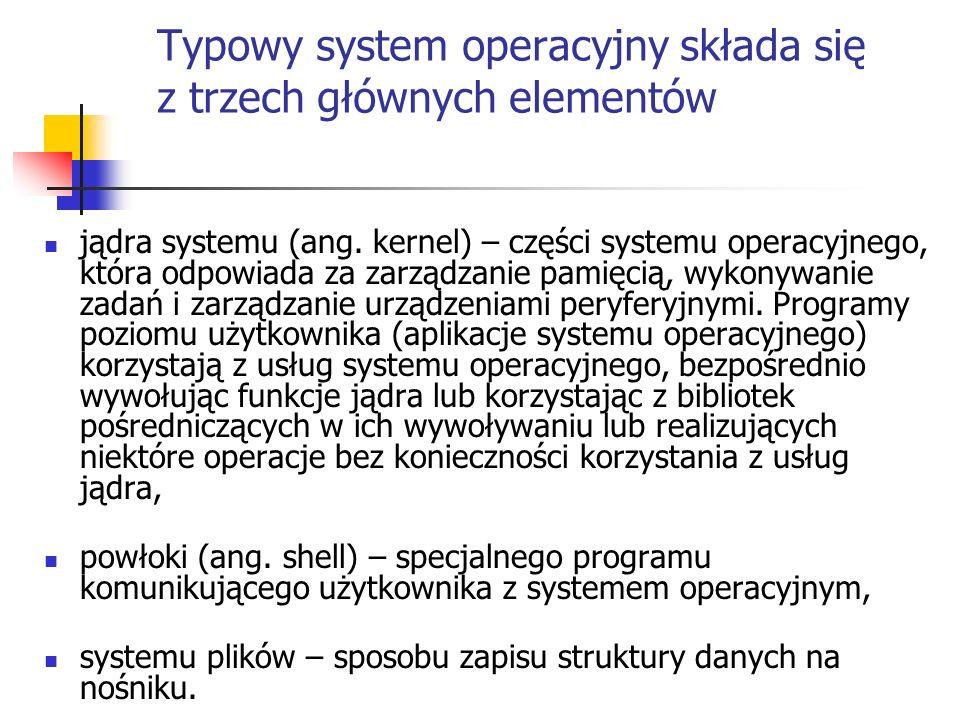 Typowy system operacyjny składa się z trzech głównych elementów jądra systemu (ang. kernel) – części systemu operacyjnego, która odpowiada za zarządza