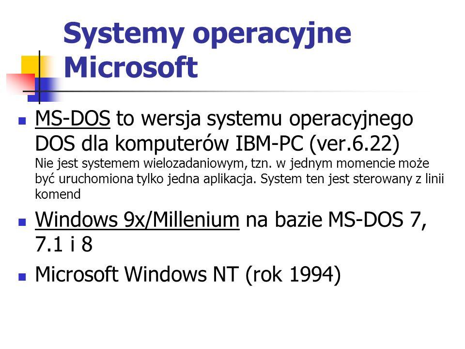 Systemy operacyjne Microsoft MS-DOS to wersja systemu operacyjnego DOS dla komputerów IBM-PC (ver.6.22) Nie jest systemem wielozadaniowym, tzn. w jedn