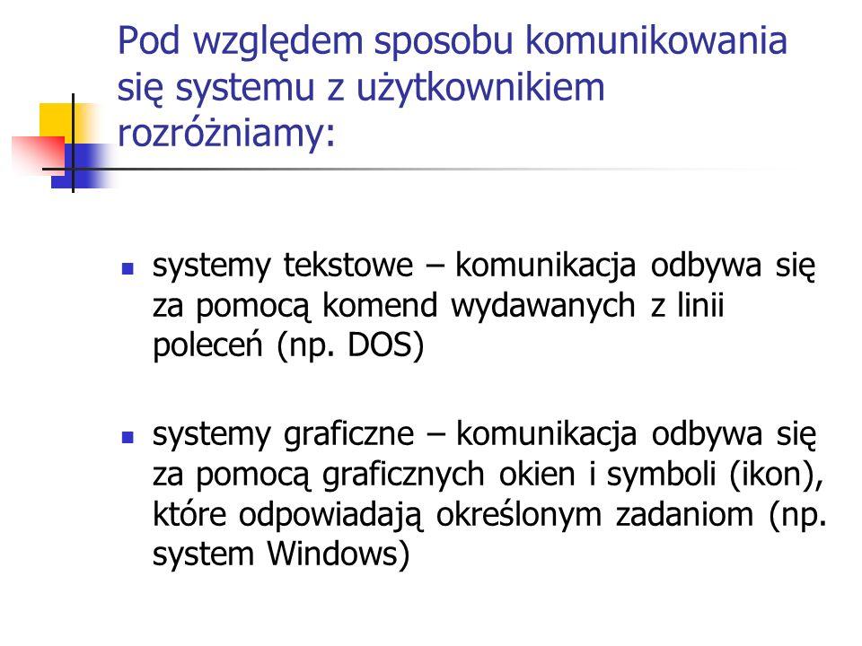 Pod względem sposobu komunikowania się systemu z użytkownikiem rozróżniamy: systemy tekstowe – komunikacja odbywa się za pomocą komend wydawanych z li