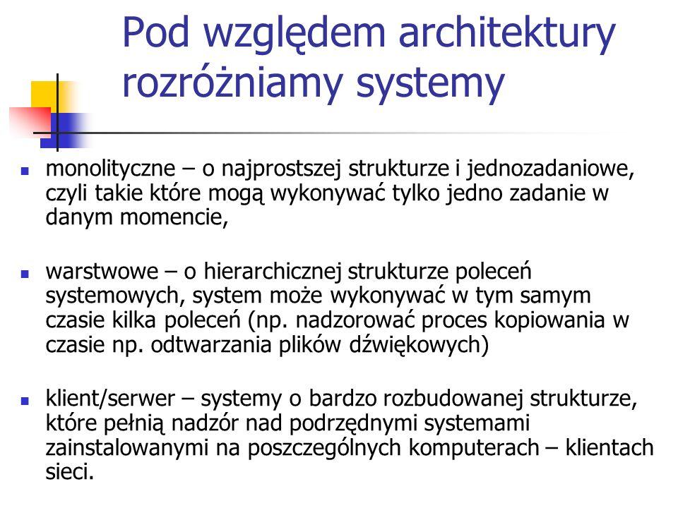Pod względem architektury rozróżniamy systemy monolityczne – o najprostszej strukturze i jednozadaniowe, czyli takie które mogą wykonywać tylko jedno