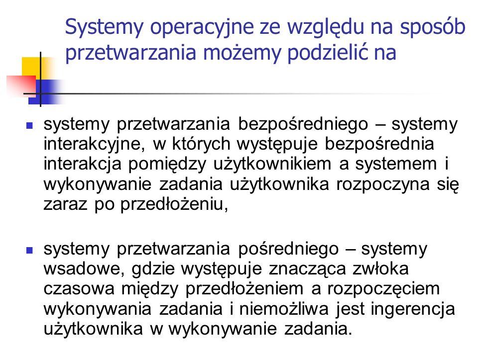 Systemy operacyjne ze względu na sposób przetwarzania możemy podzielić na systemy przetwarzania bezpośredniego – systemy interakcyjne, w których wystę