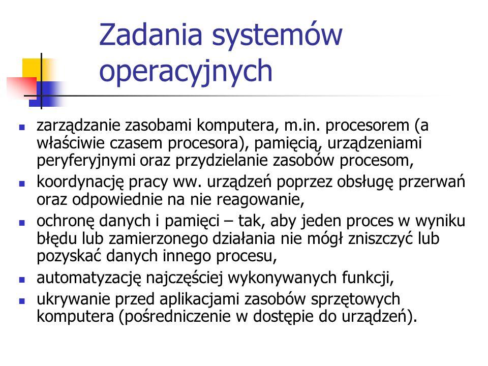 Zadania systemów operacyjnych zarządzanie zasobami komputera, m.in. procesorem (a właściwie czasem procesora), pamięcią, urządzeniami peryferyjnymi or
