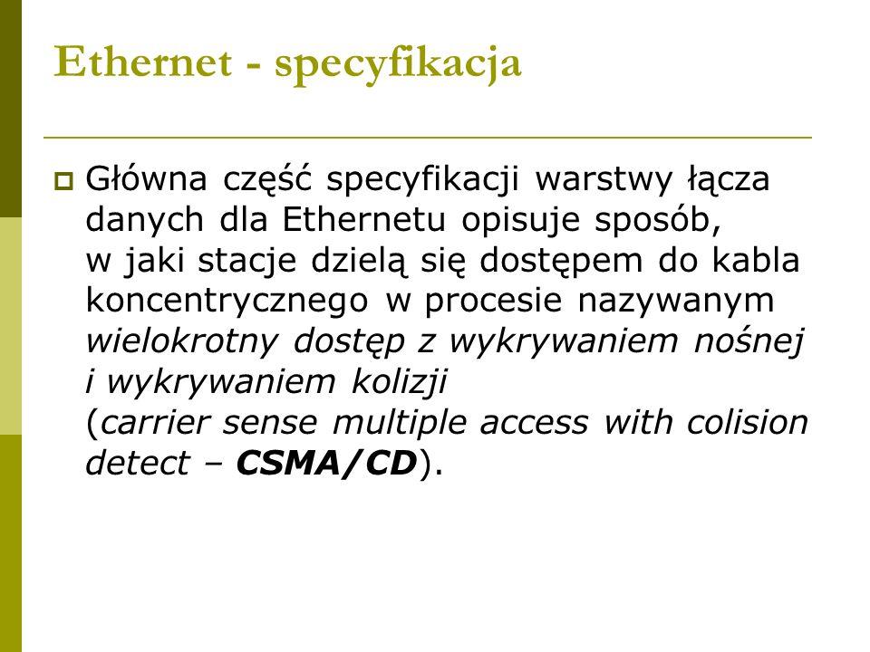 Ethernet - specyfikacja Główna część specyfikacji warstwy łącza danych dla Ethernetu opisuje sposób, w jaki stacje dzielą się dostępem do kabla koncen
