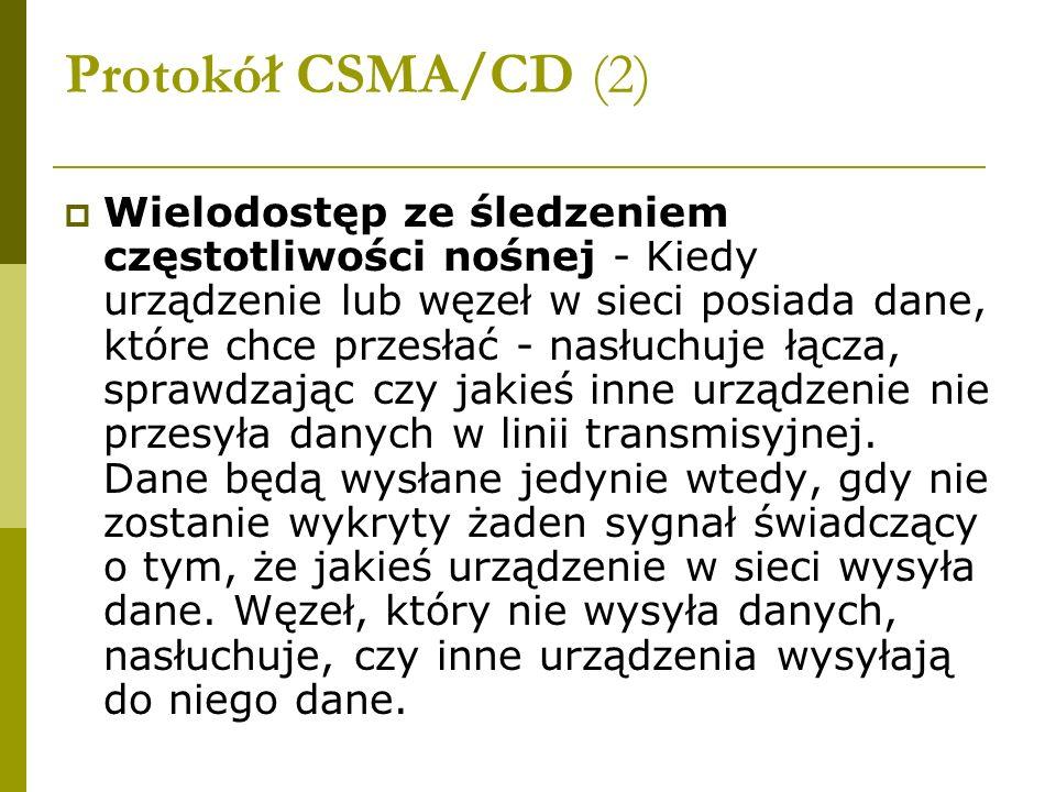 Protokół CSMA/CD (2) Wielodostęp ze śledzeniem częstotliwości nośnej - Kiedy urządzenie lub węzeł w sieci posiada dane, które chce przesłać - nasłuchu