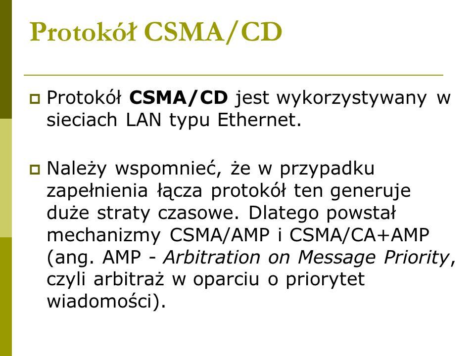 Protokół CSMA/CD Protokół CSMA/CD jest wykorzystywany w sieciach LAN typu Ethernet. Należy wspomnieć, że w przypadku zapełnienia łącza protokół ten ge