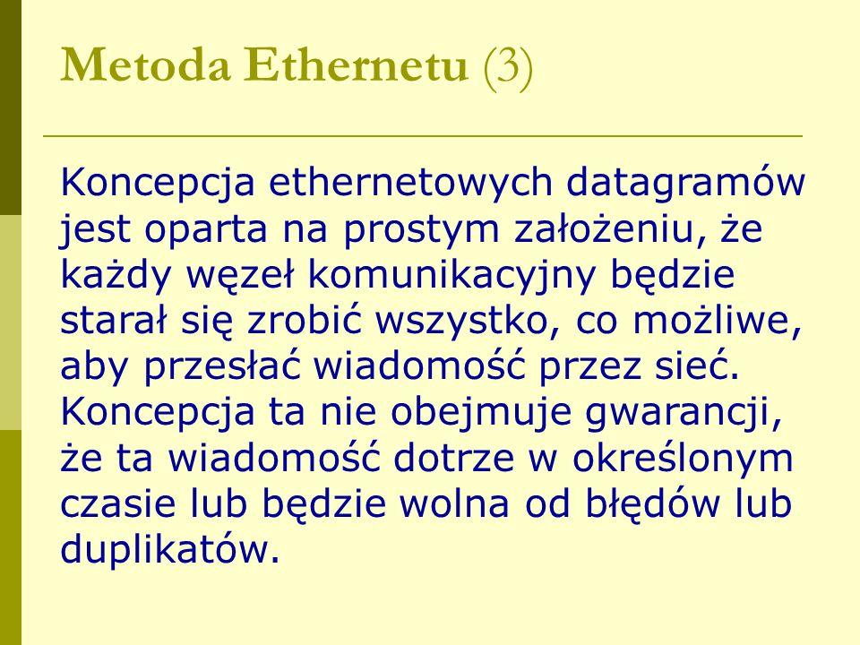 Metoda Ethernetu (3) Koncepcja ethernetowych datagramów jest oparta na prostym założeniu, że każdy węzeł komunikacyjny będzie starał się zrobić wszyst