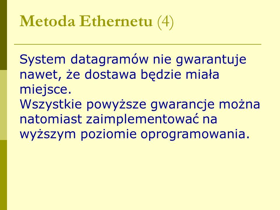 Metoda Ethernetu (4) System datagramów nie gwarantuje nawet, że dostawa będzie miała miejsce. Wszystkie powyższe gwarancje można natomiast zaimplement