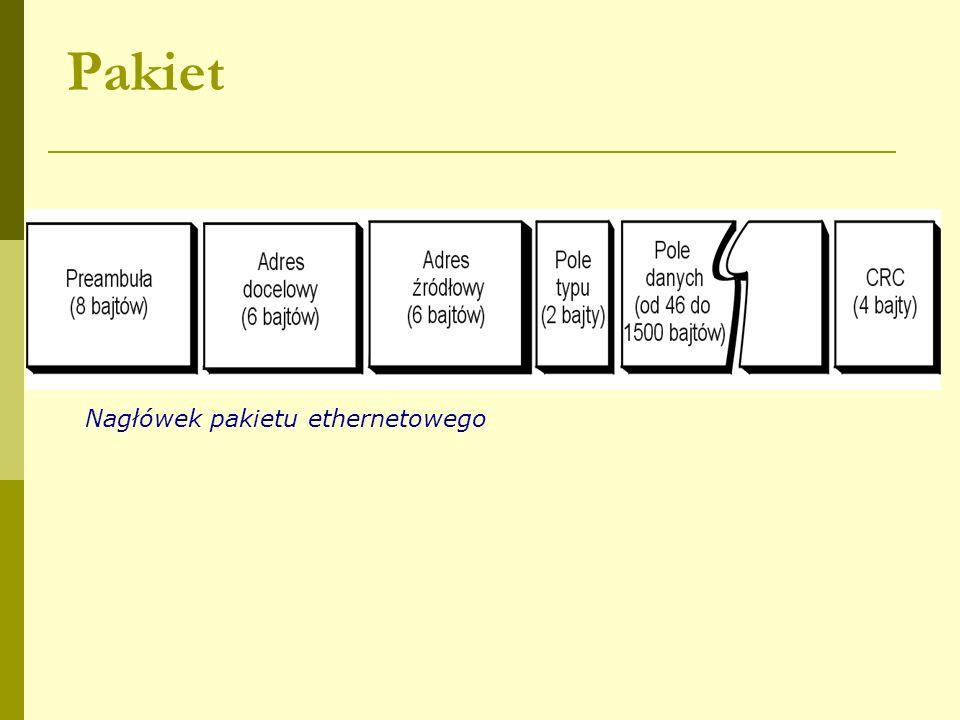 Pakiet Nagłówek pakietu ethernetowego