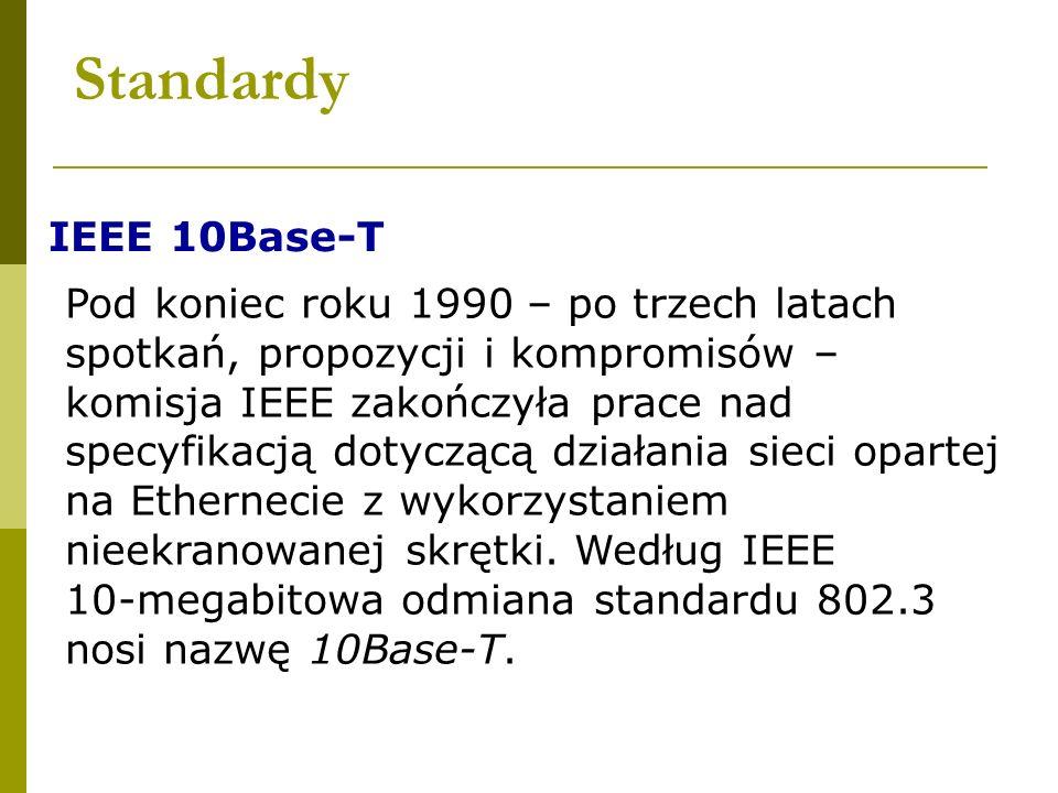 Standardy IEEE 10Base-T Pod koniec roku 1990 – po trzech latach spotkań, propozycji i kompromisów – komisja IEEE zakończyła prace nad specyfikacją dot
