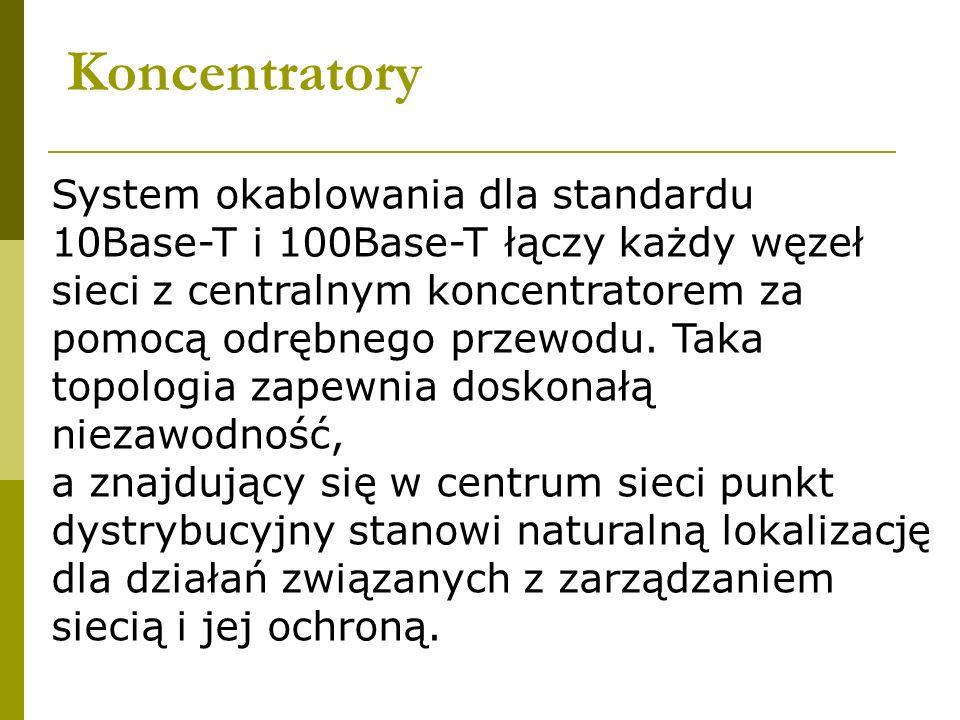 Koncentratory System okablowania dla standardu 10Base-T i 100Base-T łączy każdy węzeł sieci z centralnym koncentratorem za pomocą odrębnego przewodu.