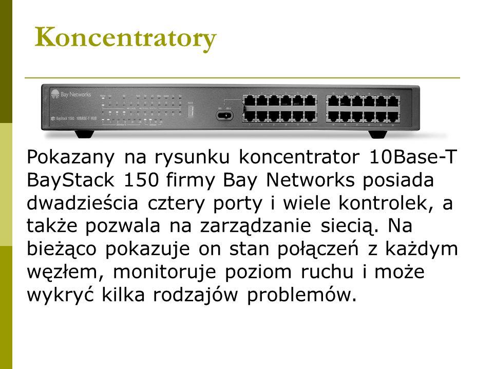 Koncentratory Pokazany na rysunku koncentrator 10Base-T BayStack 150 firmy Bay Networks posiada dwadzieścia cztery porty i wiele kontrolek, a także po