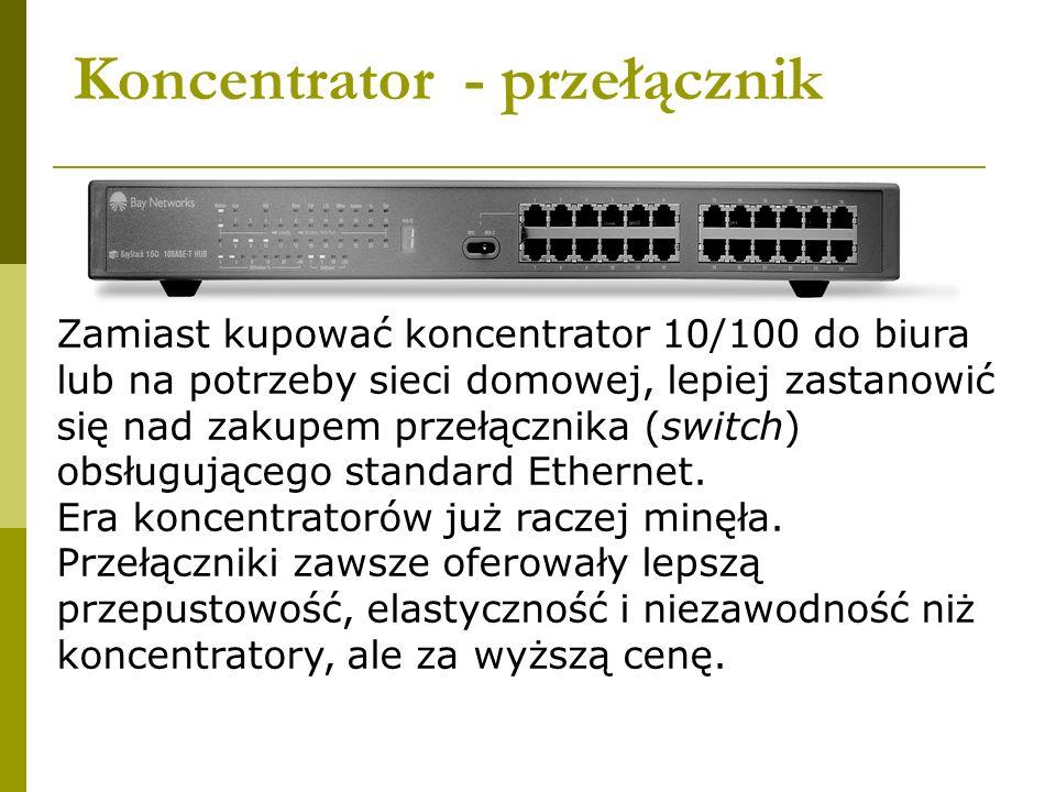 Koncentrator - przełącznik Zamiast kupować koncentrator 10/100 do biura lub na potrzeby sieci domowej, lepiej zastanowić się nad zakupem przełącznika