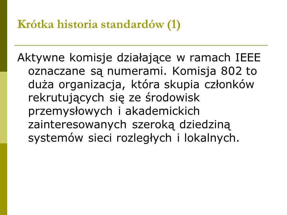 Krótka historia standardów (1) Aktywne komisje działające w ramach IEEE oznaczane są numerami. Komisja 802 to duża organizacja, która skupia członków