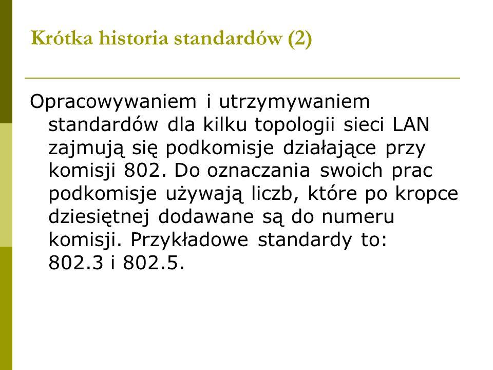 Krótka historia standardów (2) Opracowywaniem i utrzymywaniem standardów dla kilku topologii sieci LAN zajmują się podkomisje działające przy komisji