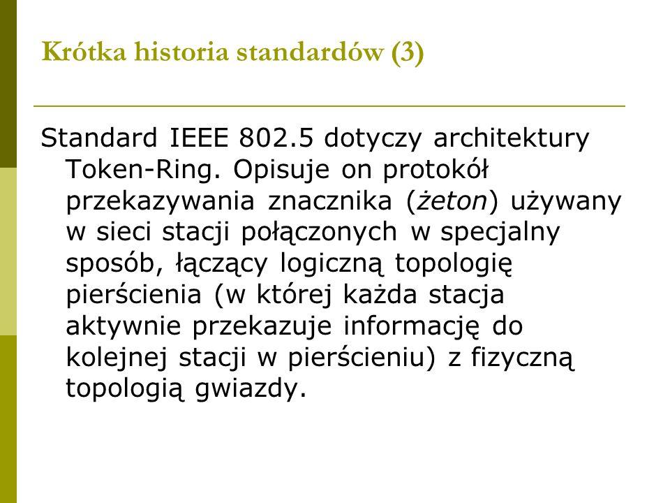 Krótka historia standardów (3) Standard IEEE 802.5 dotyczy architektury Token-Ring. Opisuje on protokół przekazywania znacznika (żeton) używany w siec