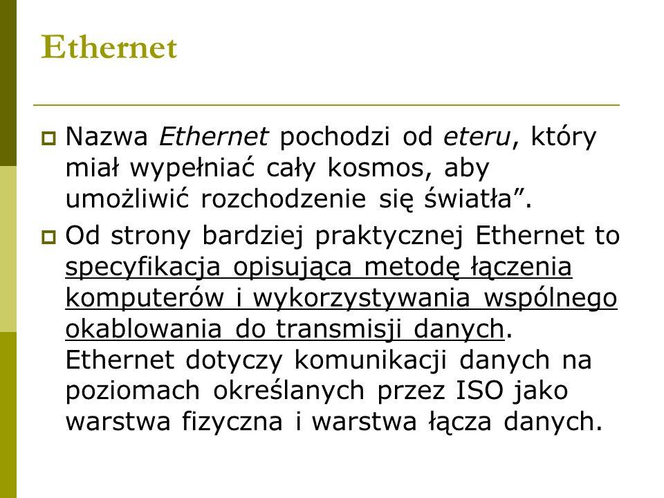 Ethernet Nazwa Ethernet pochodzi od eteru, który miał wypełniać cały kosmos, aby umożliwić rozchodzenie się światła. Od strony bardziej praktycznej Et