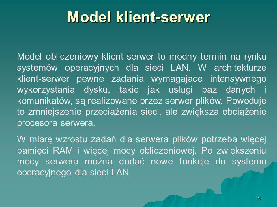 26 Funkcje sieciowe Windows Wszyscy mogą korzystać z dedykowanego serwera dla podstawowych operacji plikowych.