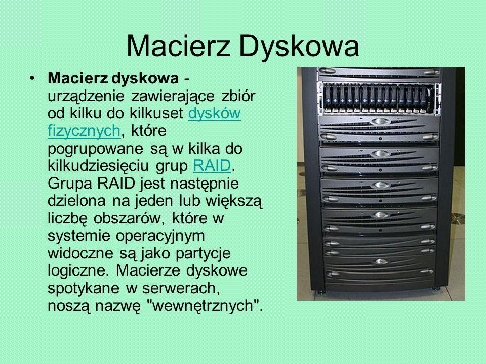 Macierz Dyskowa Macierz dyskowa - urządzenie zawierające zbiór od kilku do kilkuset dysków fizycznych, które pogrupowane są w kilka do kilkudziesięciu grup RAID.