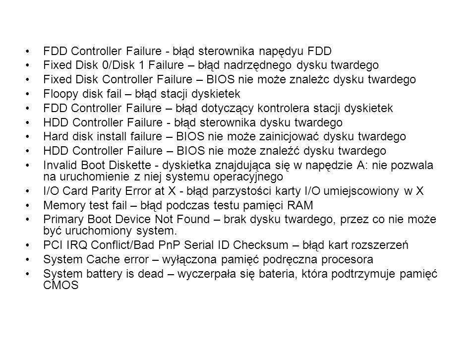 FDD Controller Failure - błąd sterownika napędyu FDD Fixed Disk 0/Disk 1 Failure – błąd nadrzędnego dysku twardego Fixed Disk Controller Failure – BIO