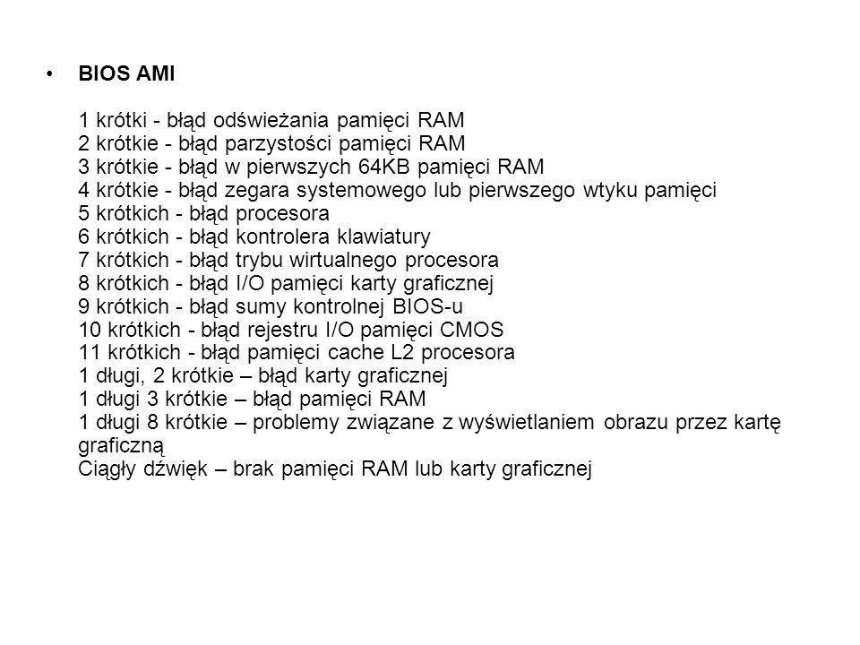 BIOS AMI 1 krótki - błąd odświeżania pamięci RAM 2 krótkie - błąd parzystości pamięci RAM 3 krótkie - błąd w pierwszych 64KB pamięci RAM 4 krótkie - b