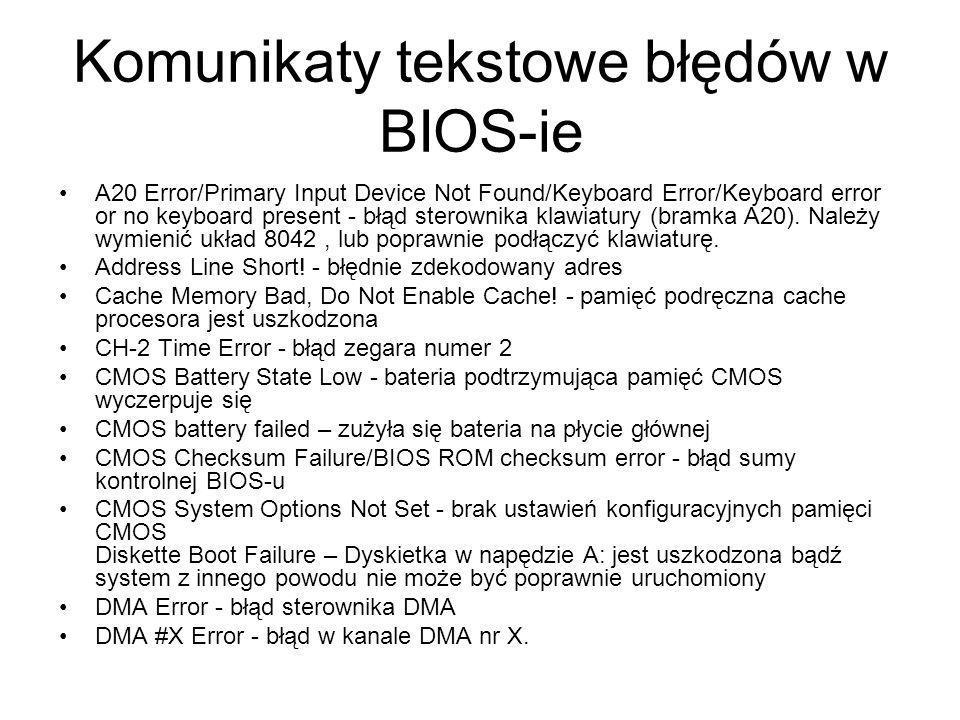 Komunikaty tekstowe błędów w BIOS-ie A20 Error/Primary Input Device Not Found/Keyboard Error/Keyboard error or no keyboard present - błąd sterownika k