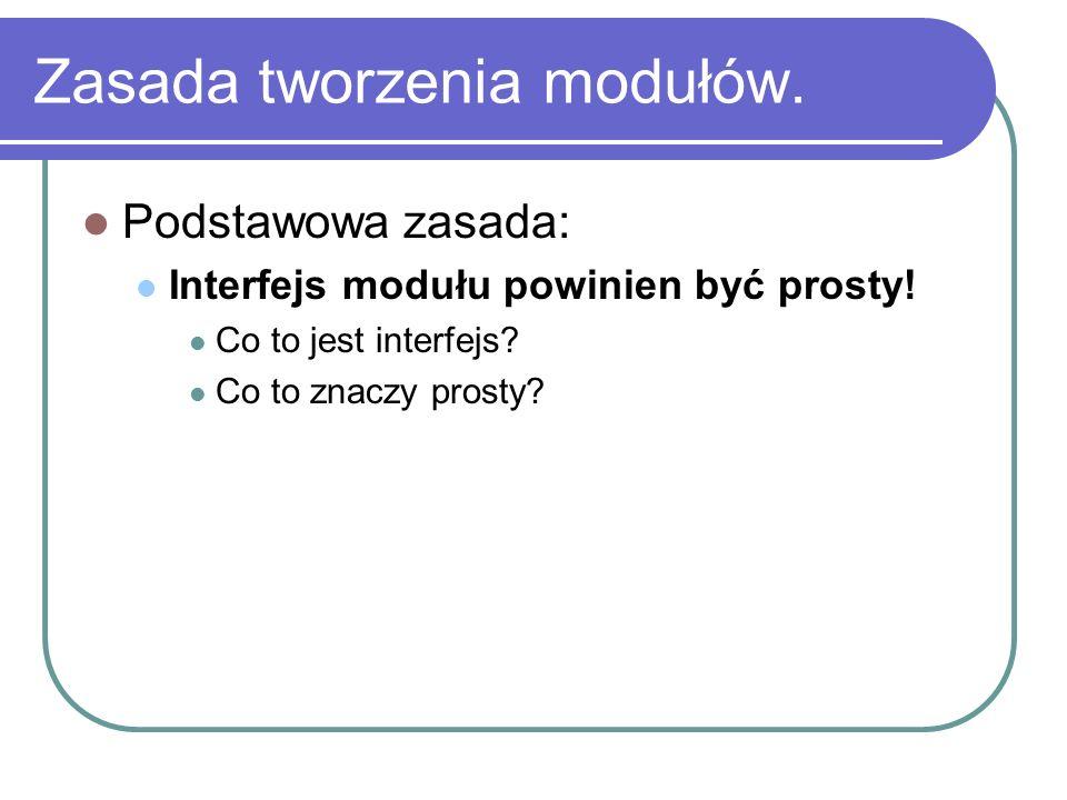 Zasada tworzenia modułów. Podstawowa zasada: Interfejs modułu powinien być prosty! Co to jest interfejs? Co to znaczy prosty?