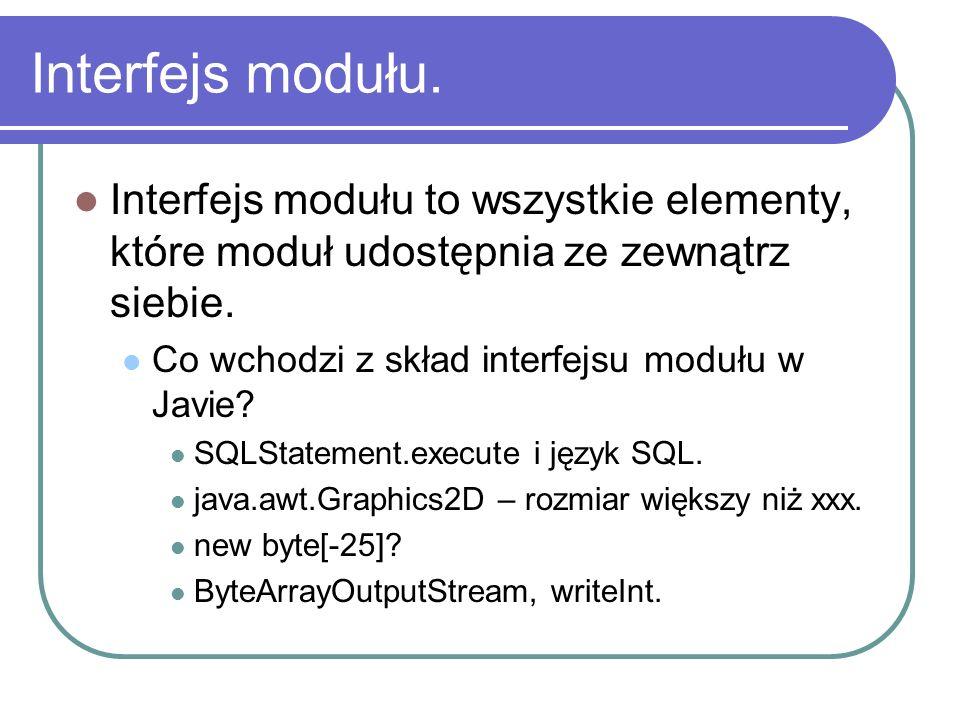 Interfejs modułu. Interfejs modułu to wszystkie elementy, które moduł udostępnia ze zewnątrz siebie. Co wchodzi z skład interfejsu modułu w Javie? SQL