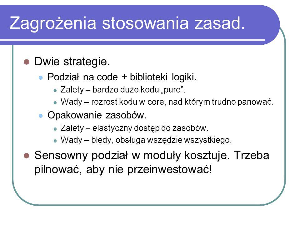 Zagrożenia stosowania zasad. Dwie strategie. Podział na code + biblioteki logiki. Zalety – bardzo dużo kodu pure. Wady – rozrost kodu w core, nad któr