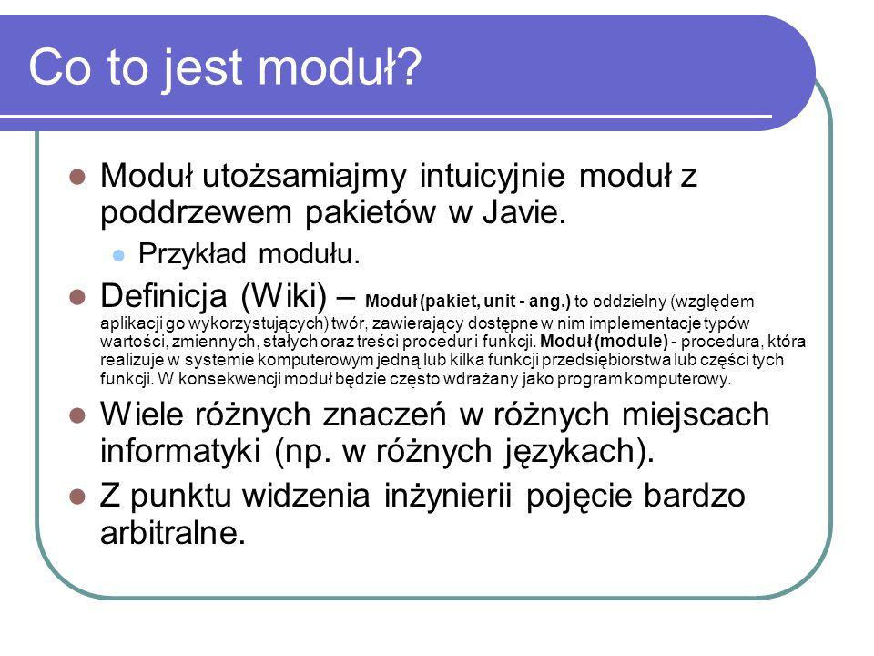 Co to jest moduł? Moduł utożsamiajmy intuicyjnie moduł z poddrzewem pakietów w Javie. Przykład modułu. Definicja (Wiki) – Moduł (pakiet, unit - ang.)